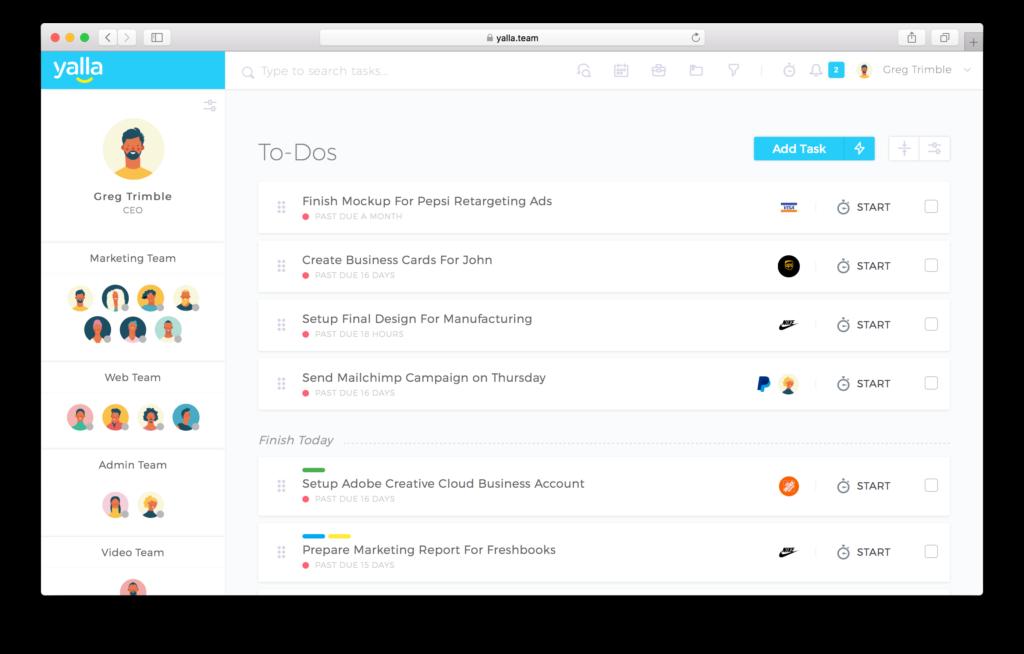 Online Team Management Software - Yalla
